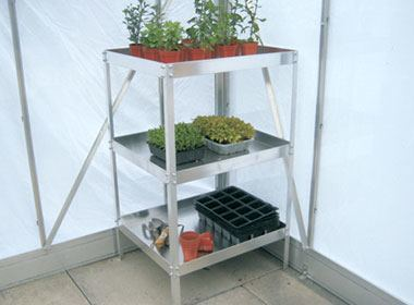 Three tier greenhouse staging with 50mm deep trays