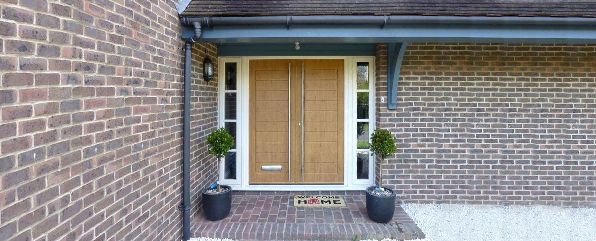 Residential house with modern style Solidor composite double doors