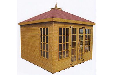 large wooden garden summer house